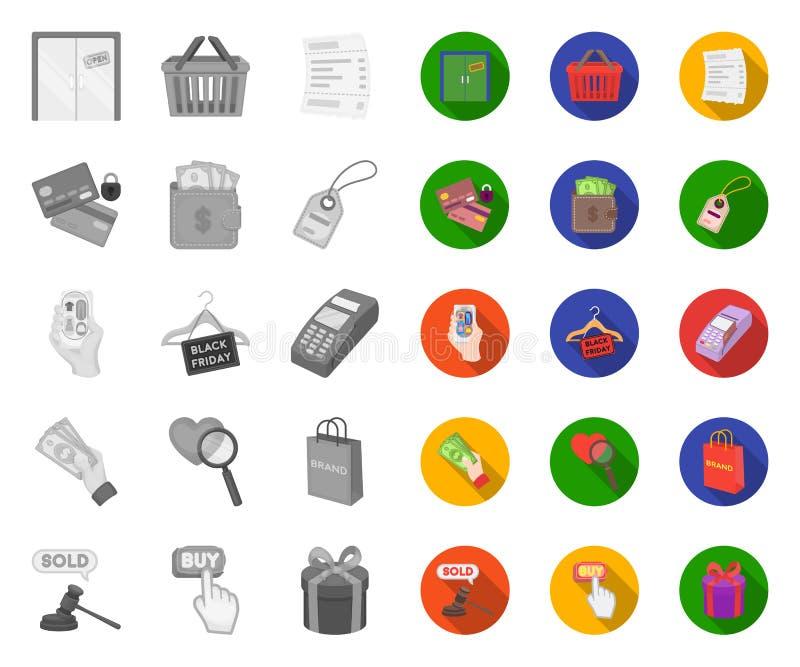 Commerce électronique, achat et vente mono, icônes plates dans la collection réglée pour la conception Web commercial et de finan illustration de vecteur