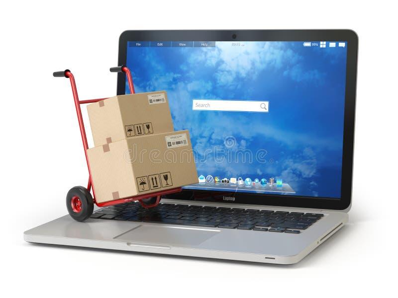 Commerce électronique, achats en ligne et concept de la livraison Camion de main et illustration stock
