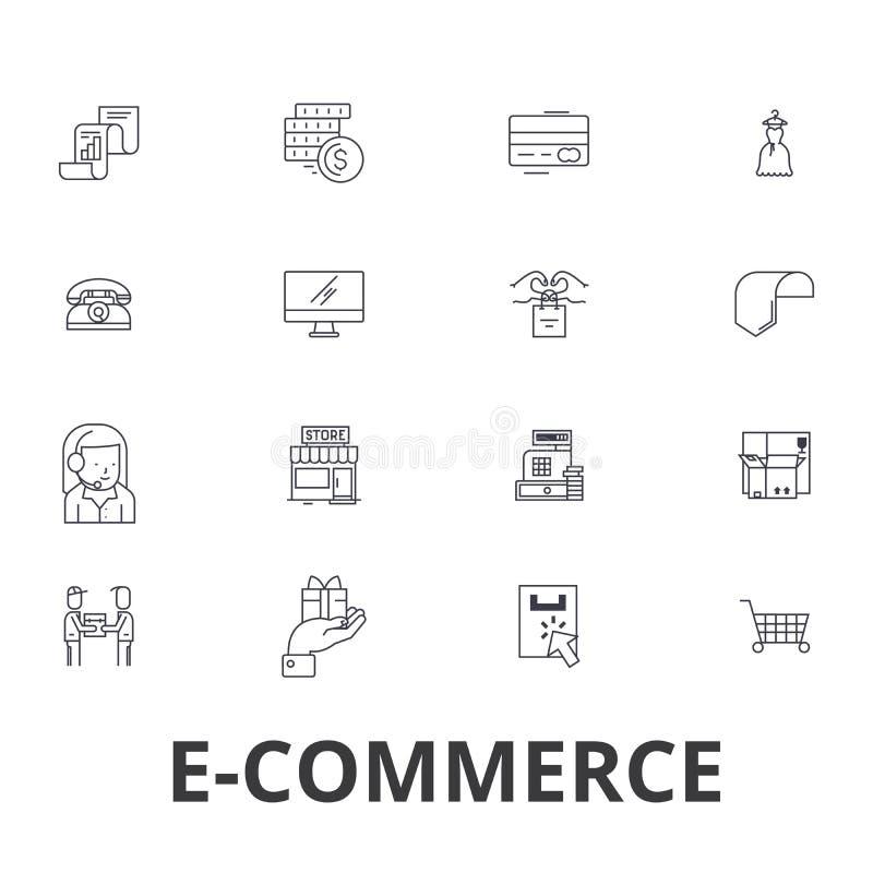 Commerce électronique, achats en ligne, site Web, Internet, chariot, commerce en ligne, ligne icônes d'apprentissage en ligne Cou illustration de vecteur