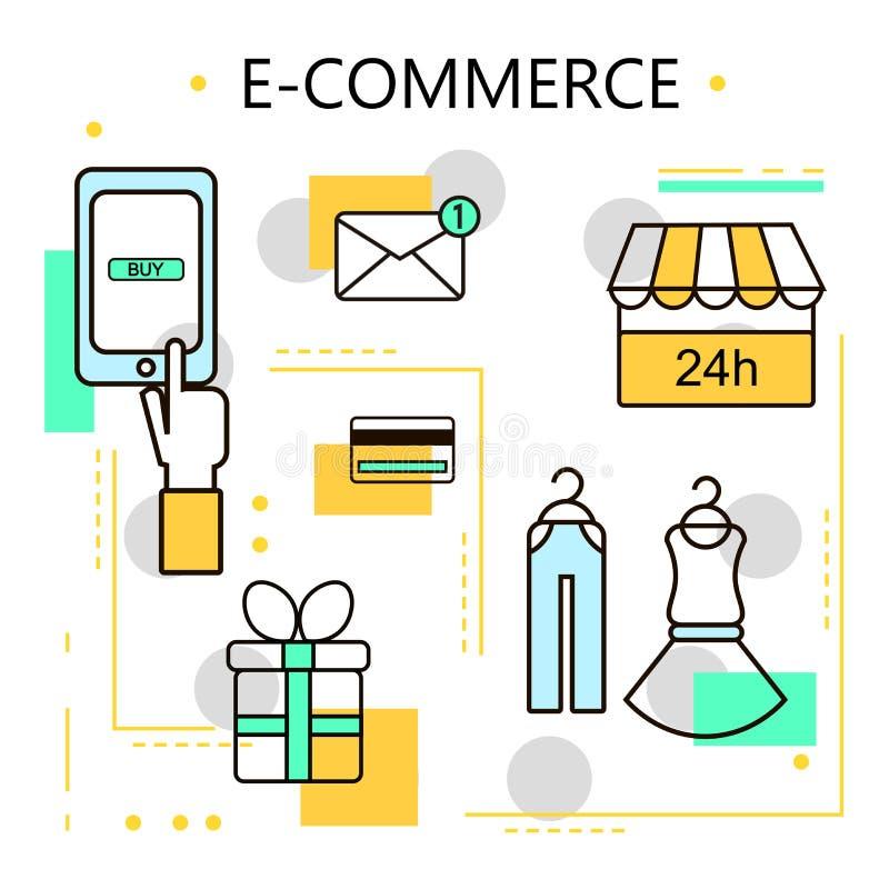 Commerce électronique et affaires en ligne d'achats Internet et concept mobile de vente Pour des services de Web et de téléphone  illustration libre de droits