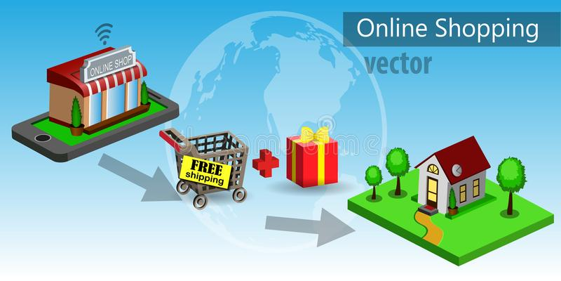 Commerce électronique mobile d'achats illustration stock