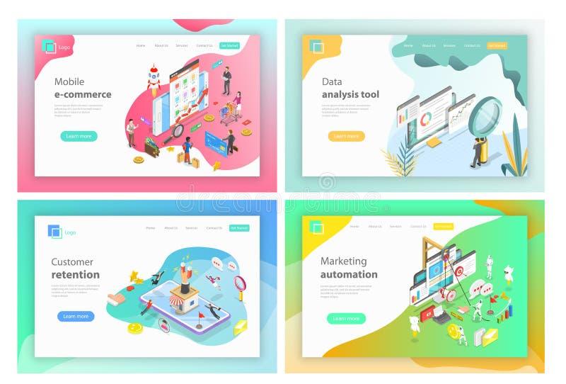 Commerce électronique mobile, outils d'analyse de données, conservation de client, automation de commercialisation illustration libre de droits