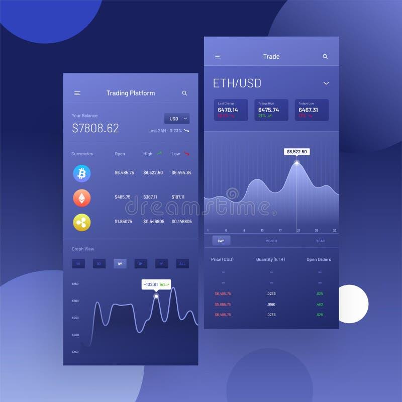Commerce de Cryptocurrencies, et échange UI ou concept d'UX pour Mobi illustration de vecteur