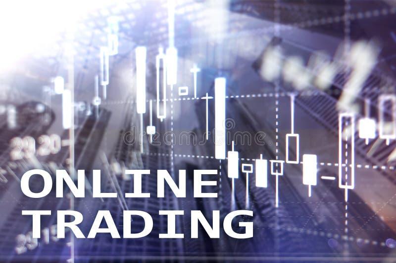 Commerce en ligne, FOREX, concept d'investissement sur le fond brouill? de centre d'affaires photo stock