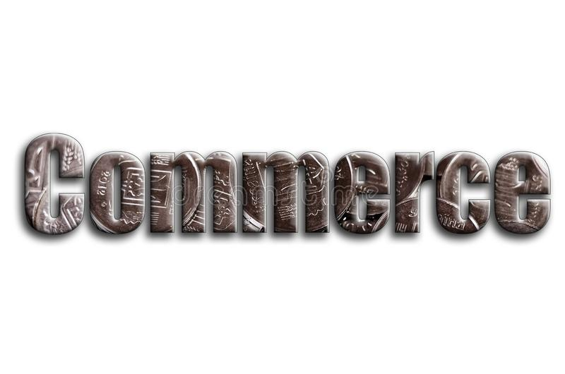 Commerce. The inscription has a texture of the photography, which depicts a lot of ukrainian coins.  royalty free illustration