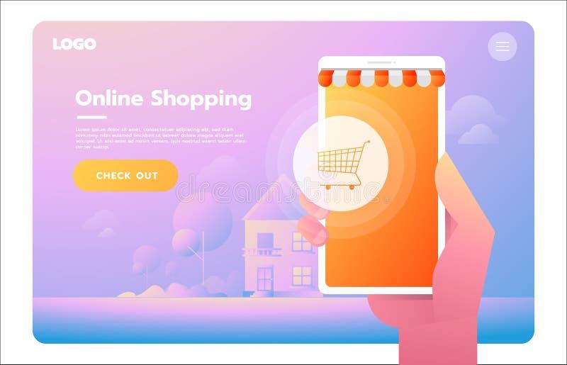 Commerce ?lectronique, commerce ?lectronique, achats en ligne, paiement, la livraison, processus d'exp?dition, ventes Vecteur de  illustration libre de droits