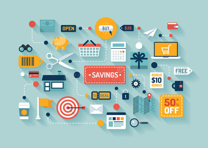 Commerce and savings flat illustration. Flat design vector illustration concept with icons of retail commerce and marketing elements such as promotion, coupon