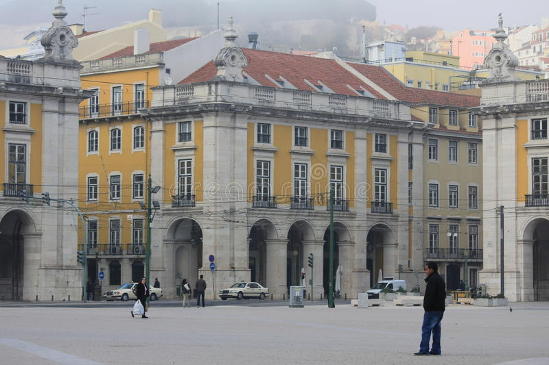 The Commerce Square in Lisbon, Portugal royalty free stock image