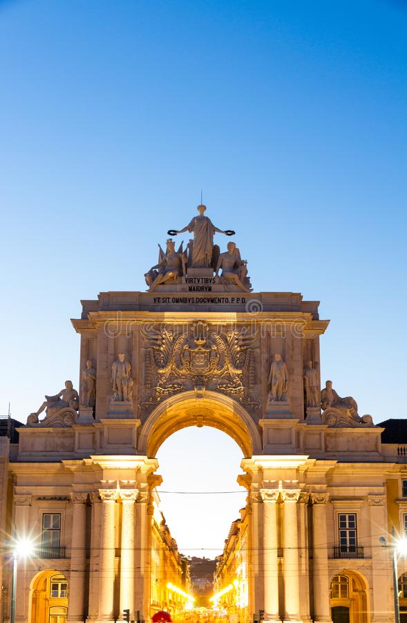 The Commerce square in Lisbon, Portugal at sunset royalty free stock photo