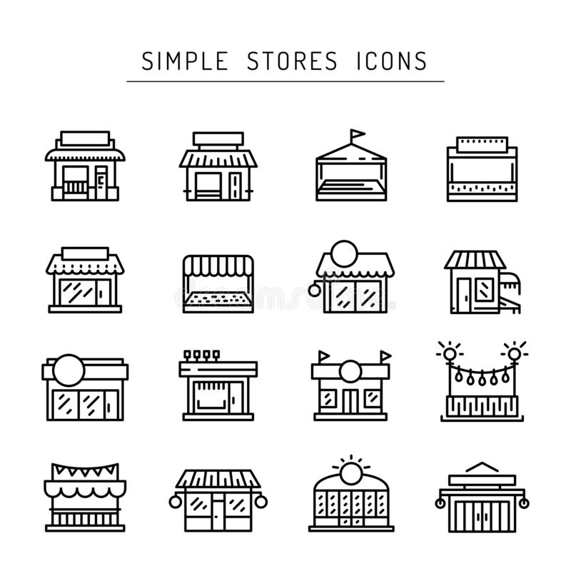 Commerce store front outline vector icon flat royalty free illustration