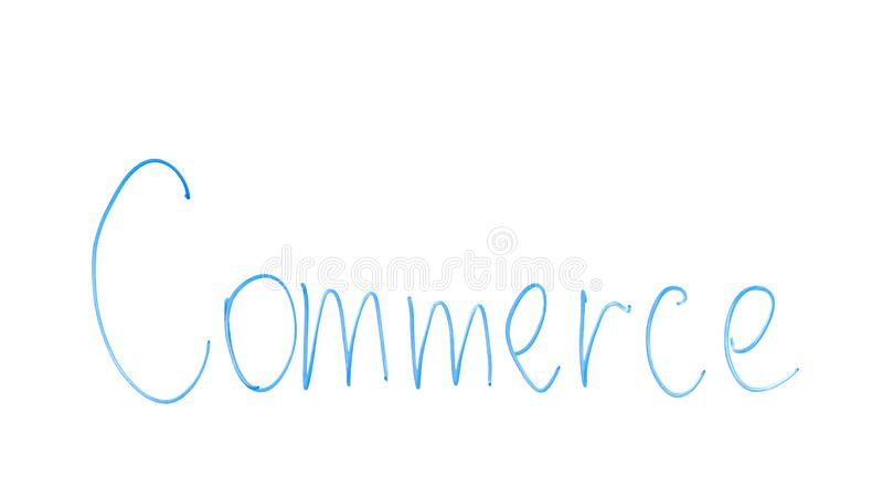 Commerce word written on glass, activity of buying and selling, business trading royalty free stock photo
