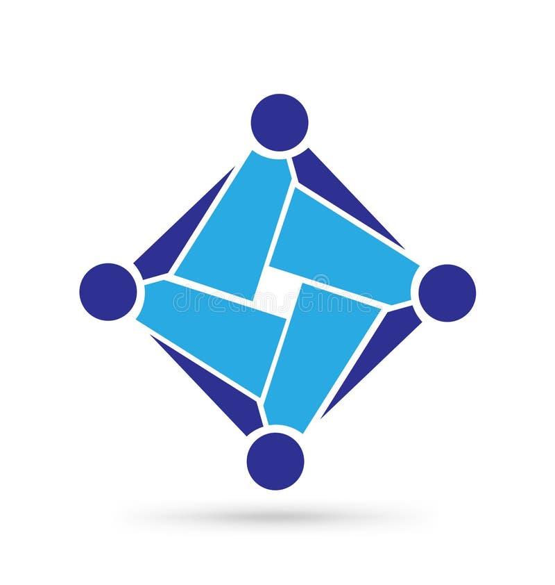 Commerciële abstracte groep teanwork, pictogramsymbool stock illustratie