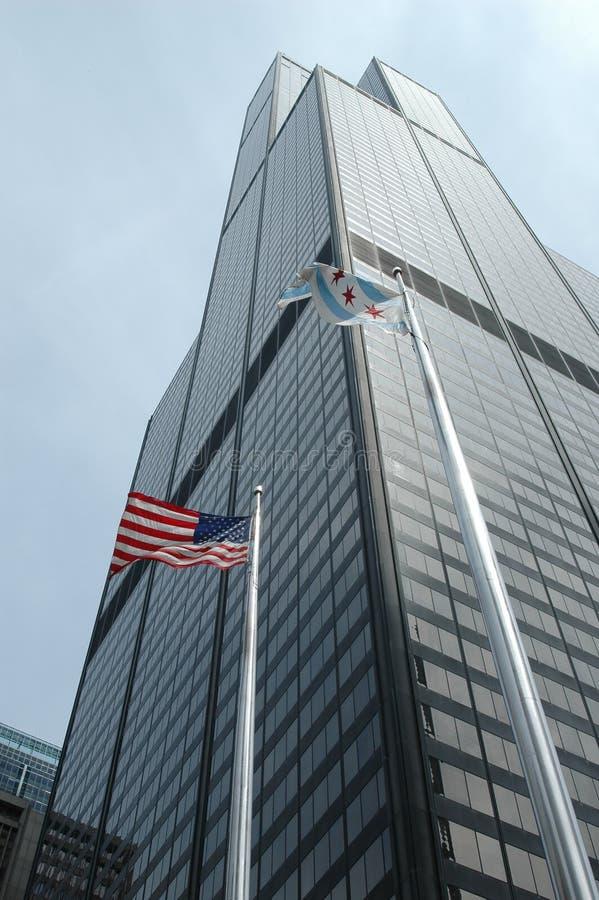 Commerciële Gebouwen in Chicago stock afbeeldingen