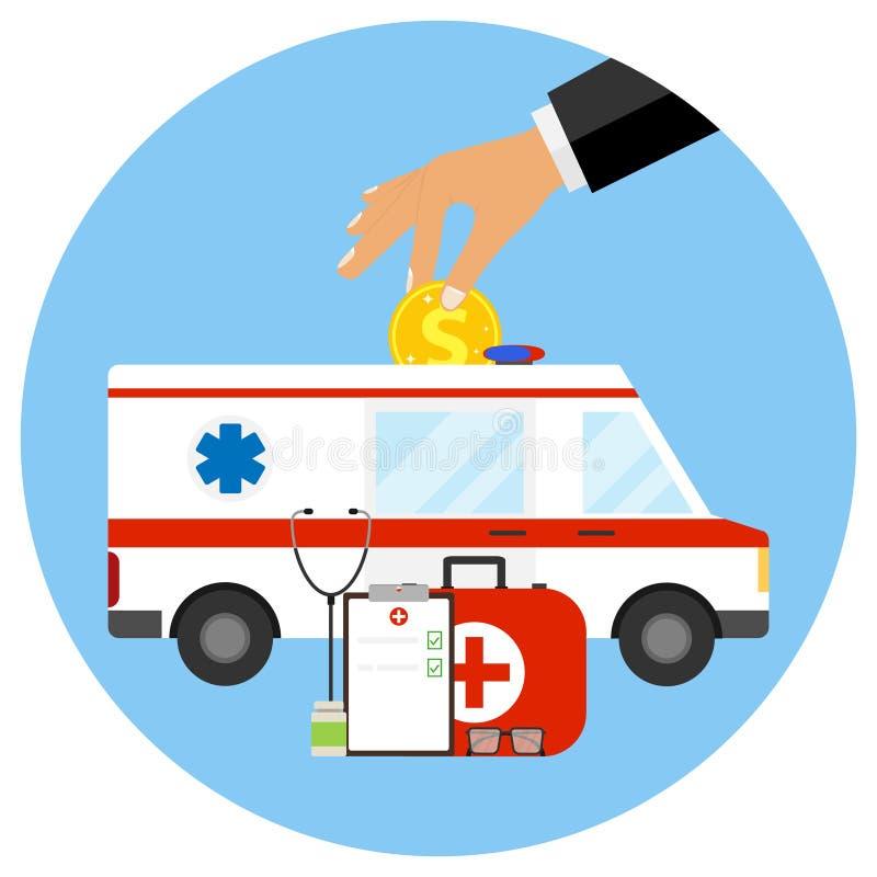 Commerciële geneeskunde, het concept betaalde geneeskunde vector illustratie
