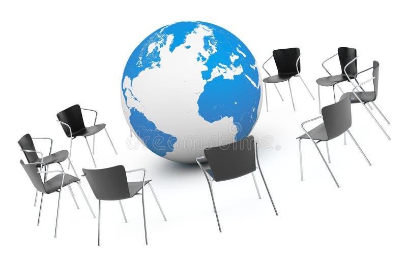 Commerciële Globale vergadering Stoelen die rond met Aardebol schikken royalty-vrije illustratie