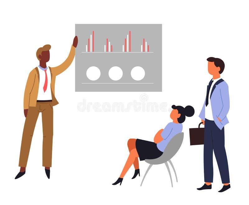 Commerciële grafische vergadering of de beambten van het grafiekgroepswerk stock illustratie