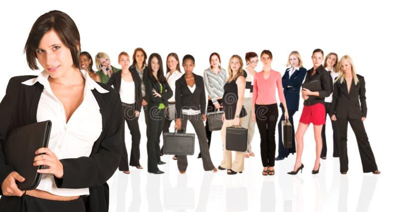 Commerciële groep slechts vrouw stock afbeelding