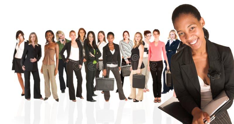 Commerciële groep slechts vrouw stock afbeeldingen