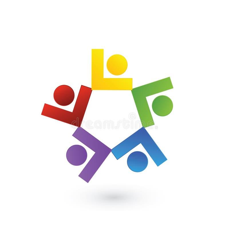 Commerciële groepsleiders, mensengroepswerk, vectorembleemmalplaatje stock illustratie
