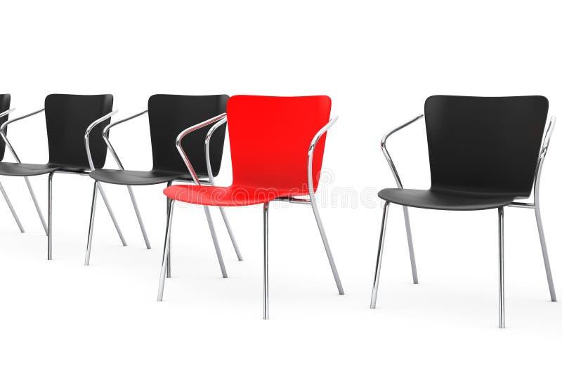 Commerciële grote vergadering Chef- Chair Between andere stoelen 3d trek uit vector illustratie