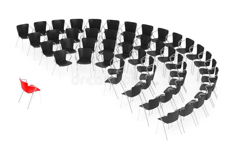 Commerciële grote vergadering Stoelen die rond met Chef- Chair schikken royalty-vrije illustratie
