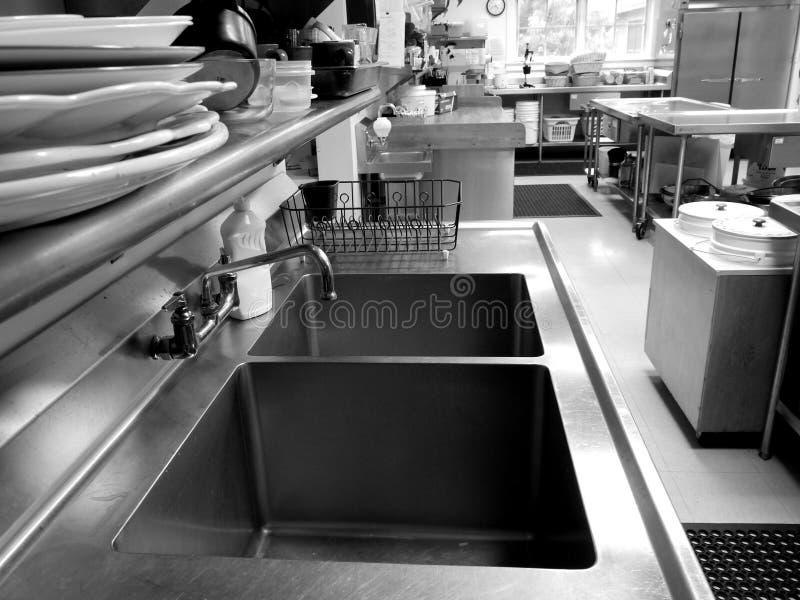 Commerciële Keuken: Dubbele Gootsteen Royalty-vrije Stock Foto