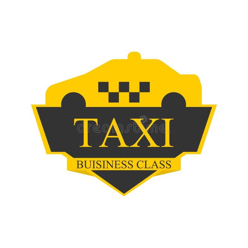 Commerciële klassentaxi logotype met auto op hoogste geïsoleerd etiket stock illustratie