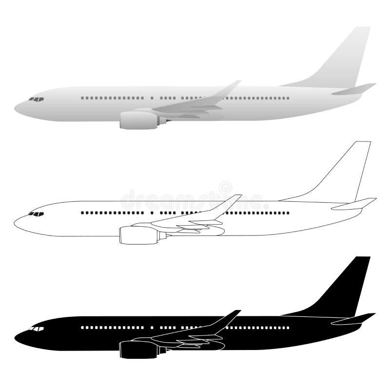 Commerciële Lijnvliegtuigpassagier Jet Vector Illustrations vector illustratie