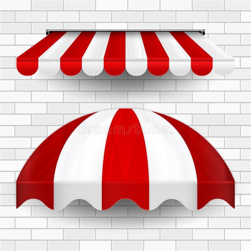 Commerciële Luifel Afbaardende Reeks Vector duik Opslag op Het gestreepte afbaarden Ontwerpelement voor Affiche, Banner, Reclame stock illustratie