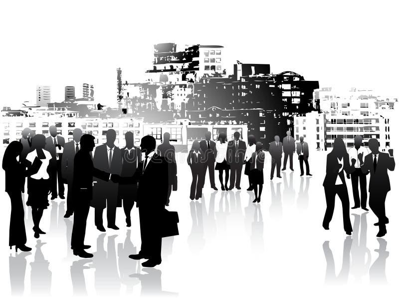 Commerciële mensen en stad stock illustratie
