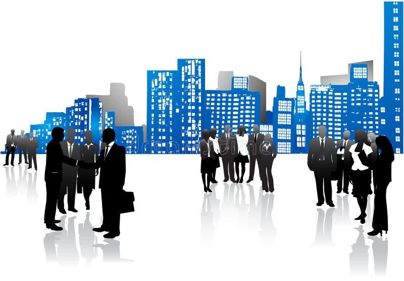 Commerciële mensen en stad royalty-vrije illustratie