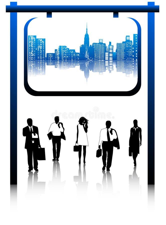 Commerciële mensen en stad vector illustratie