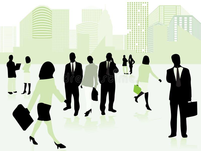 Commerciële mensen en stad in groen vector illustratie
