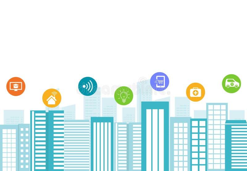 Commerciële slimme stad De aansluting van Internet stock illustratie