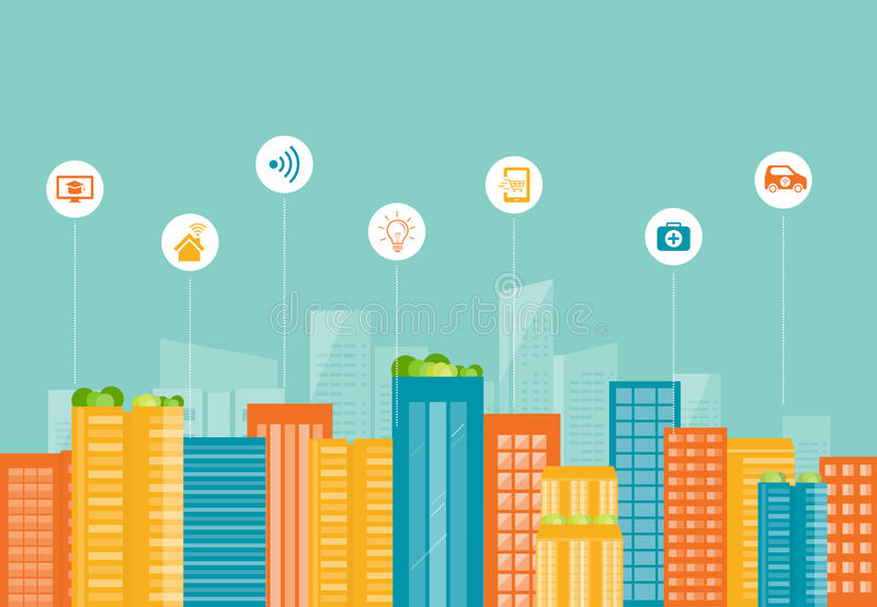 Commerciële slimme stad De aansluting van Internet sociaal stock illustratie