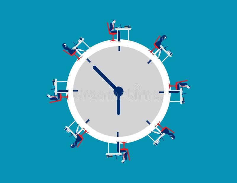Commerciële team werktijd Vectorzaken royalty-vrije illustratie
