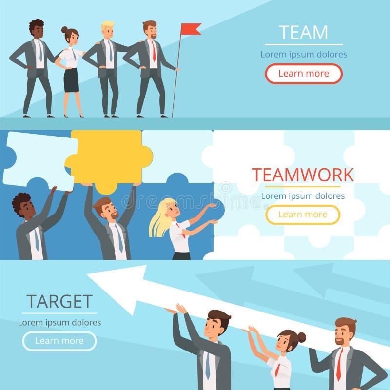 Commerciële teambanners De managers assoieert samenwerking op het werk aan het grote doelteam die conceptuele vector bouwen stock illustratie