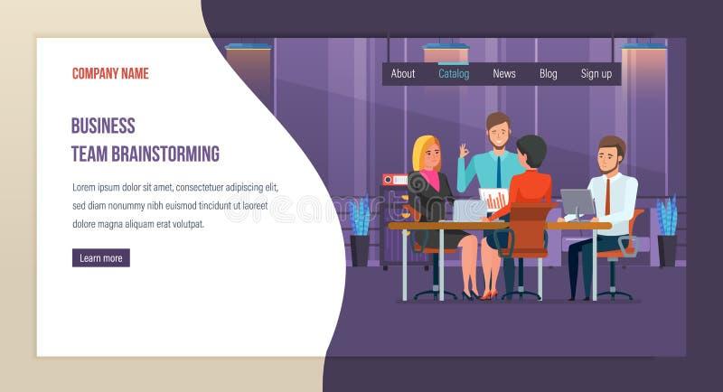 Commerciële teambrainstorming Samenwerking, samenwerking met partners, collega's vector illustratie