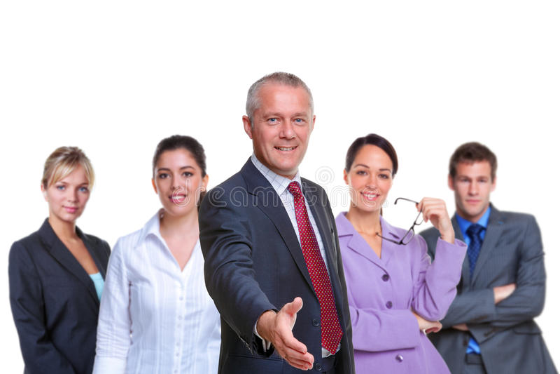 Commerciële teamhanddruk royalty-vrije stock foto's