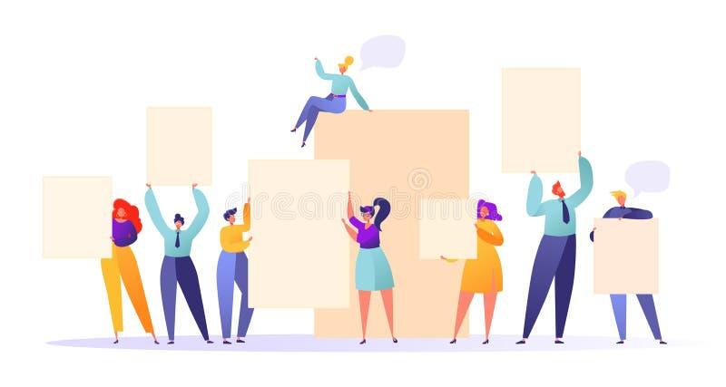 Commerciële teamholding in handen lege banners vector illustratie