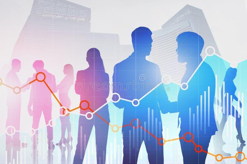 Commerciële teamsilhouetten in stad, diagrammen vector illustratie