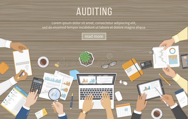 Commerciële vergadering, controle, gegevensanalyse, rapportering, het rekenschap geven Mensen bij het bureau op het werk Menselij vector illustratie