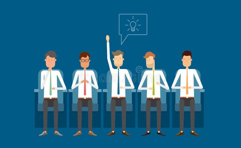 Commerciële vergadering en het bainstorming De mensen van de groep Het bedrijfs denken royalty-vrije illustratie