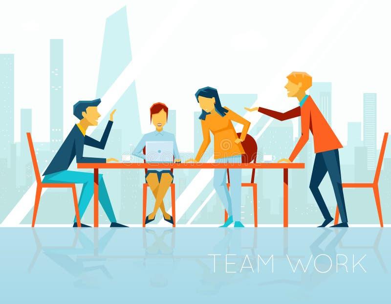 Commerciële vergadering En mensen die binnen spreken werken vector illustratie