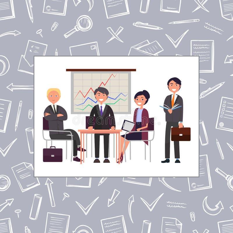 Commerciële Vergadering van Vector van het Mensen de Naadloze Patroon royalty-vrije illustratie