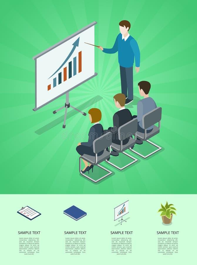 Commerciële vergaderings isometrische 3D infographics stock illustratie