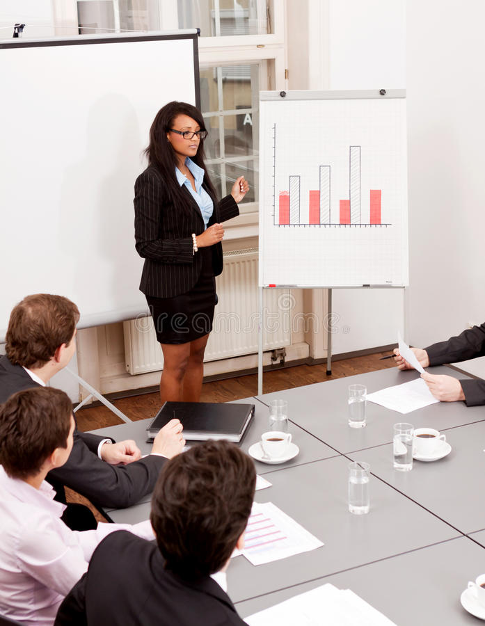 Commerciële vergaderingspresentatie flipchart stock foto's