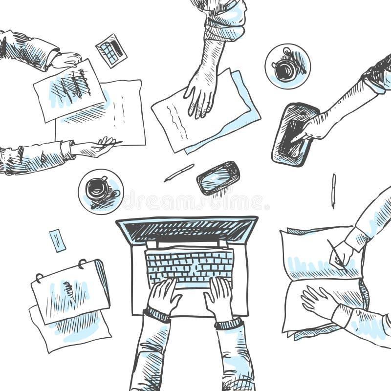 Commerciële vergaderingsschets stock illustratie