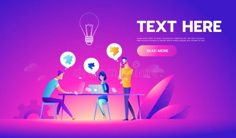 Commerci?le vergadering en brainstorming Idee en bedrijfsconcept voor groepswerk Vectorillustratiemalplaatje met mensen vector illustratie