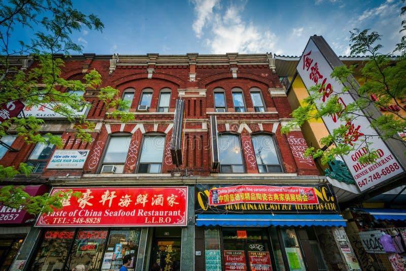 Commerci sul viale di Spadina, in Chinatown, Toronto, Ontario fotografia stock libera da diritti